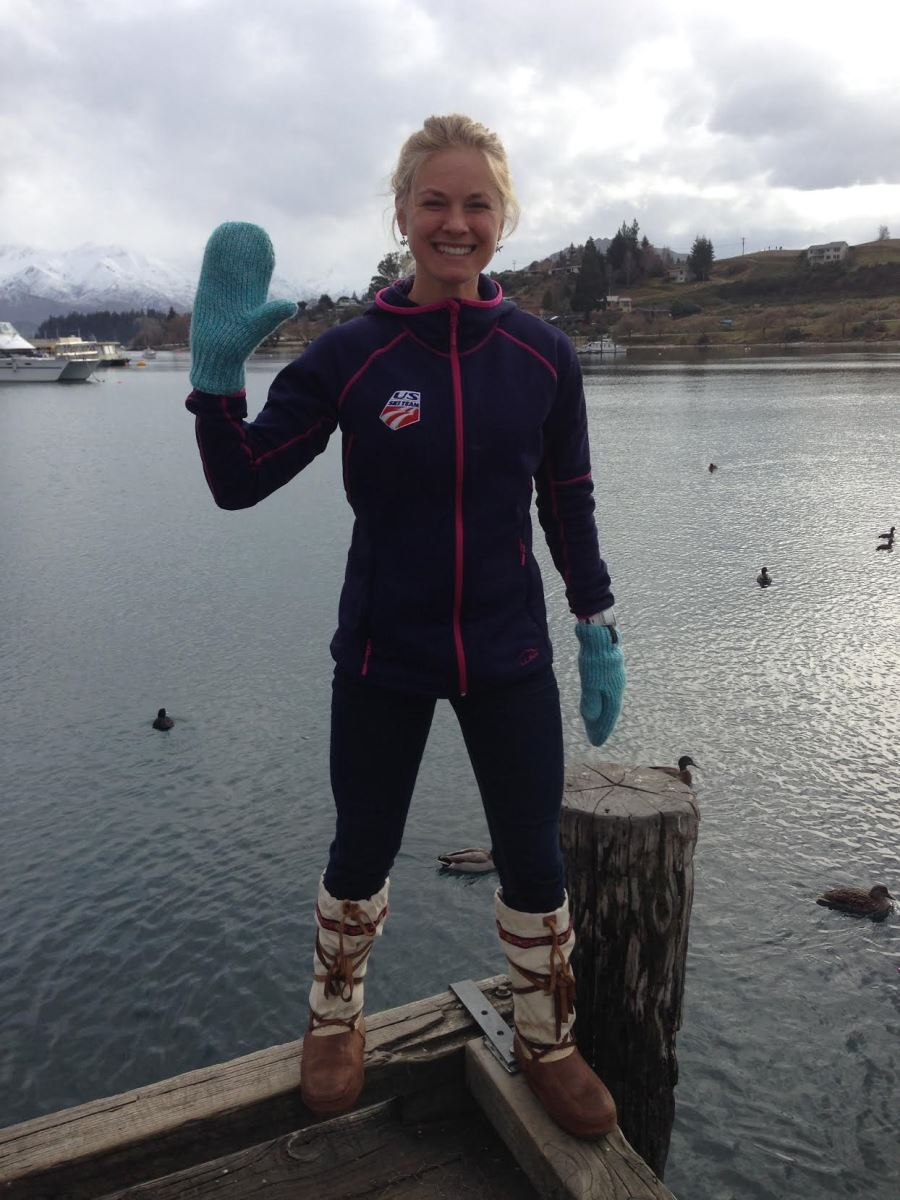 Jessie Diggins wearing Steger Mukluks style Arctic with ribbon