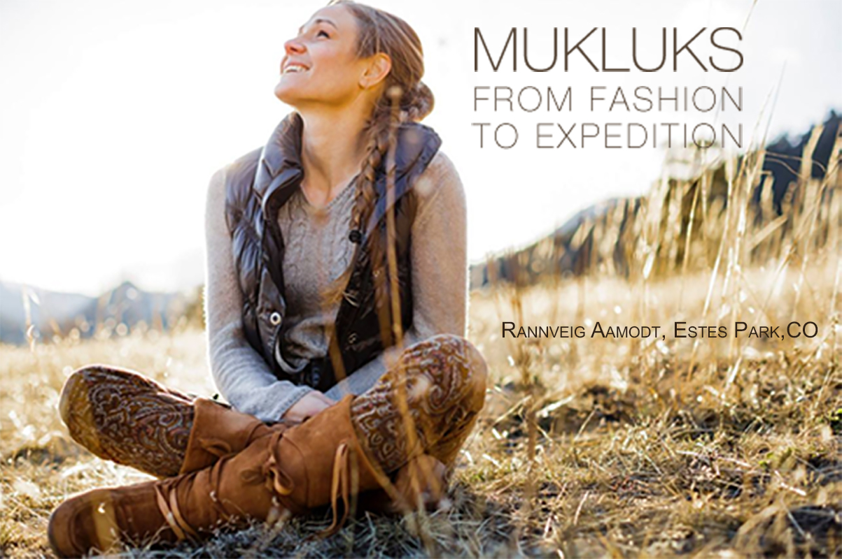 Rannveig Aamodt Sitting in the high plains of the Rockies in Quetico style Steger Mukluks