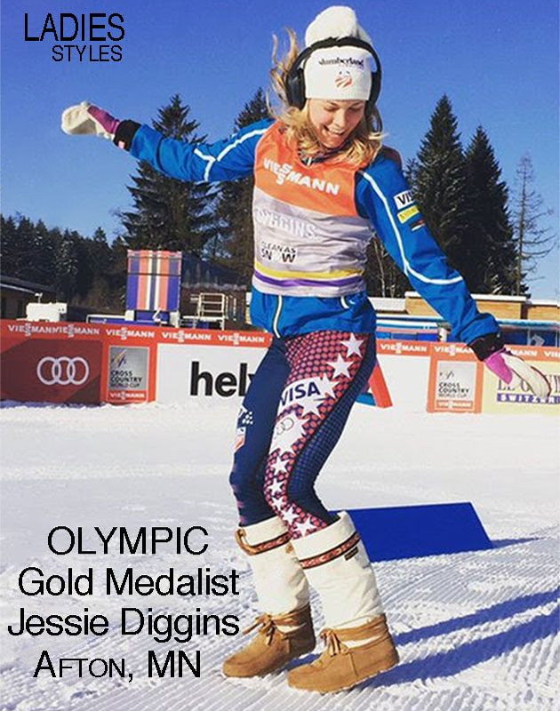 Jessie Diggins Celebrating n the snow wearing Arctic with ribbon style Steger Mukluks