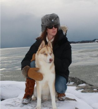 Lori Leaney wearing Steger Mukluks out with her dog