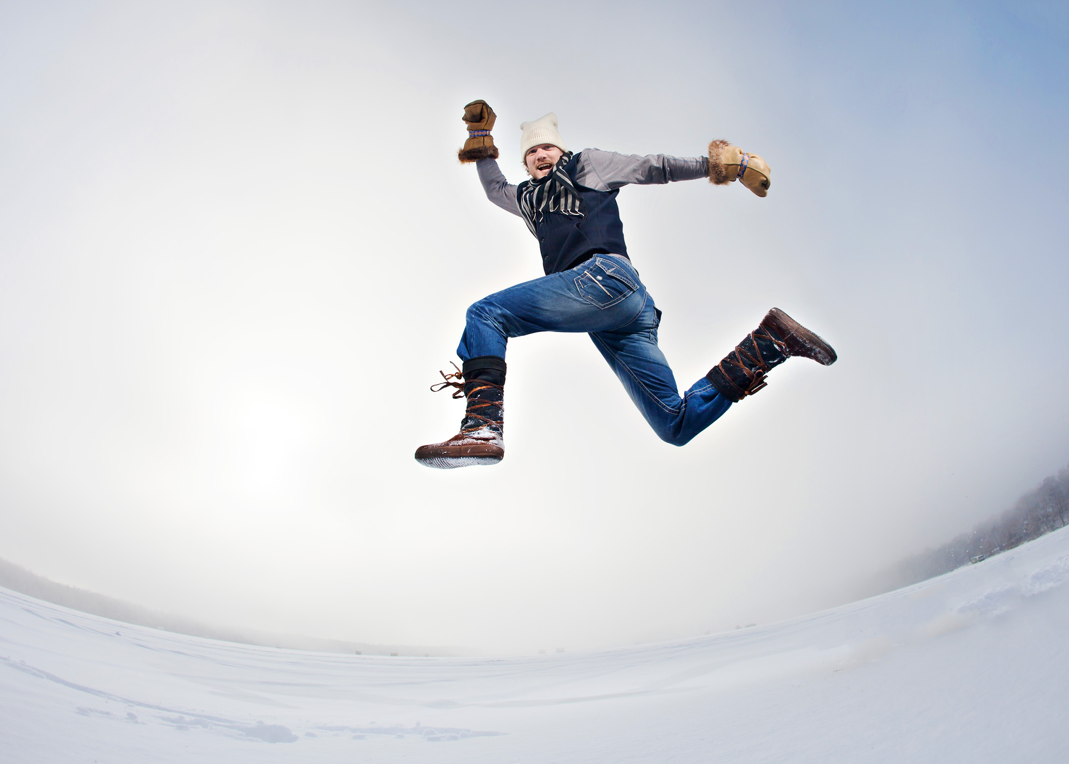 al johnson running jump in his Steger Mukluks