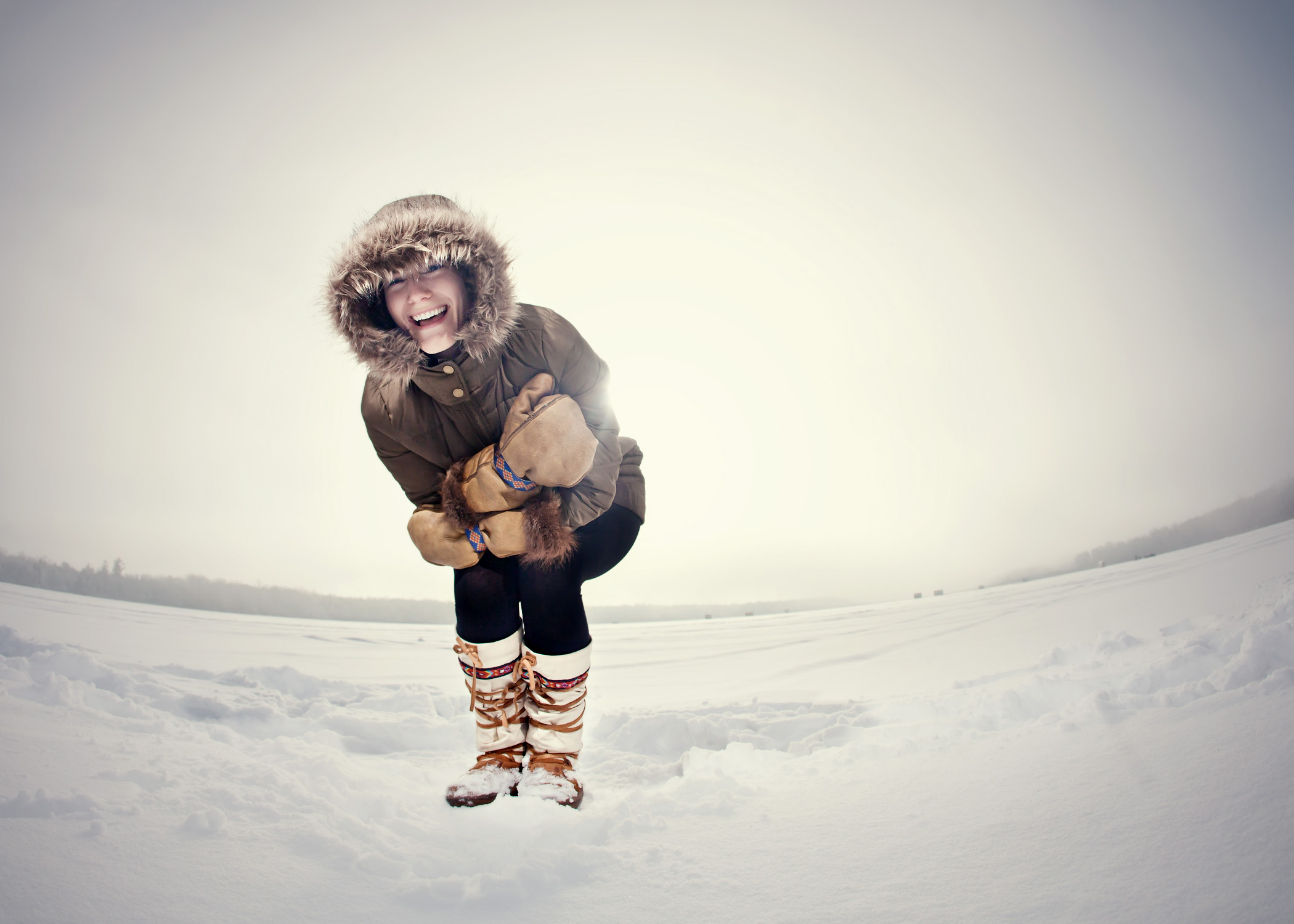 lyndsey johnson laughing having a great time in her Steger Mukluks